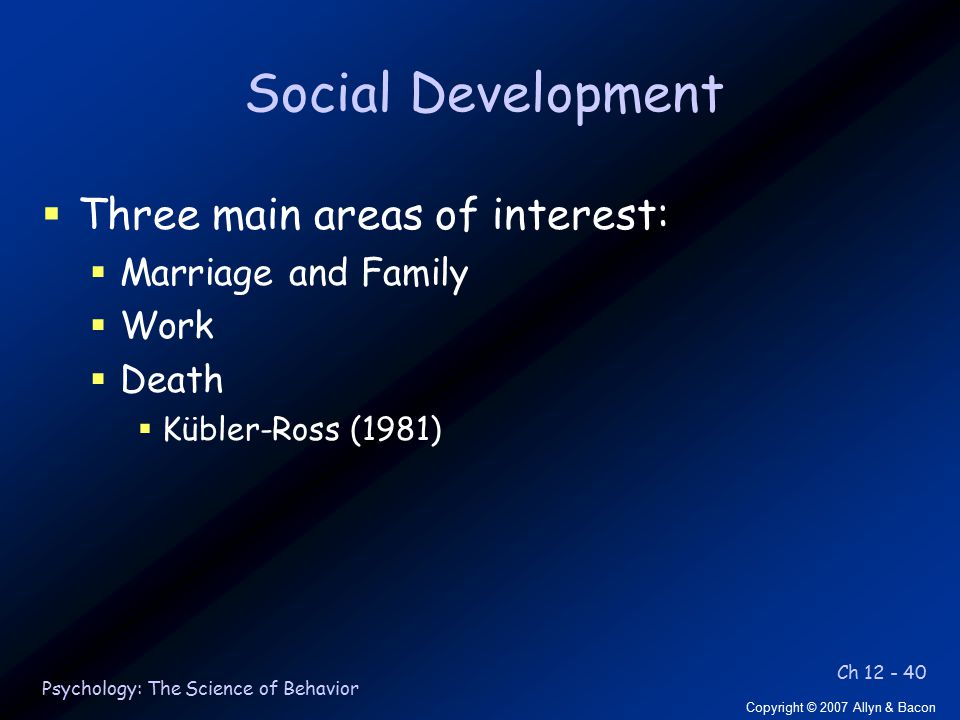 Ch 12 - 40 Copyright © 2007 Allyn & Bacon Psychology: The Science of Behavior Social Development  Three main areas of interest:  Marriage and Family  Work  Death  Kübler-Ross (1981)