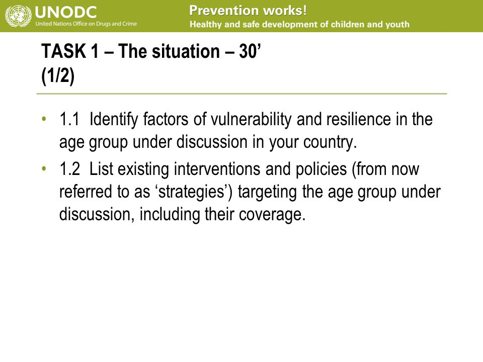TASK 1 – The situation – 30' (1/2) 1.1Identify factors of vulnerability and resilience in the age group under discussion in your country. 1.2List exis