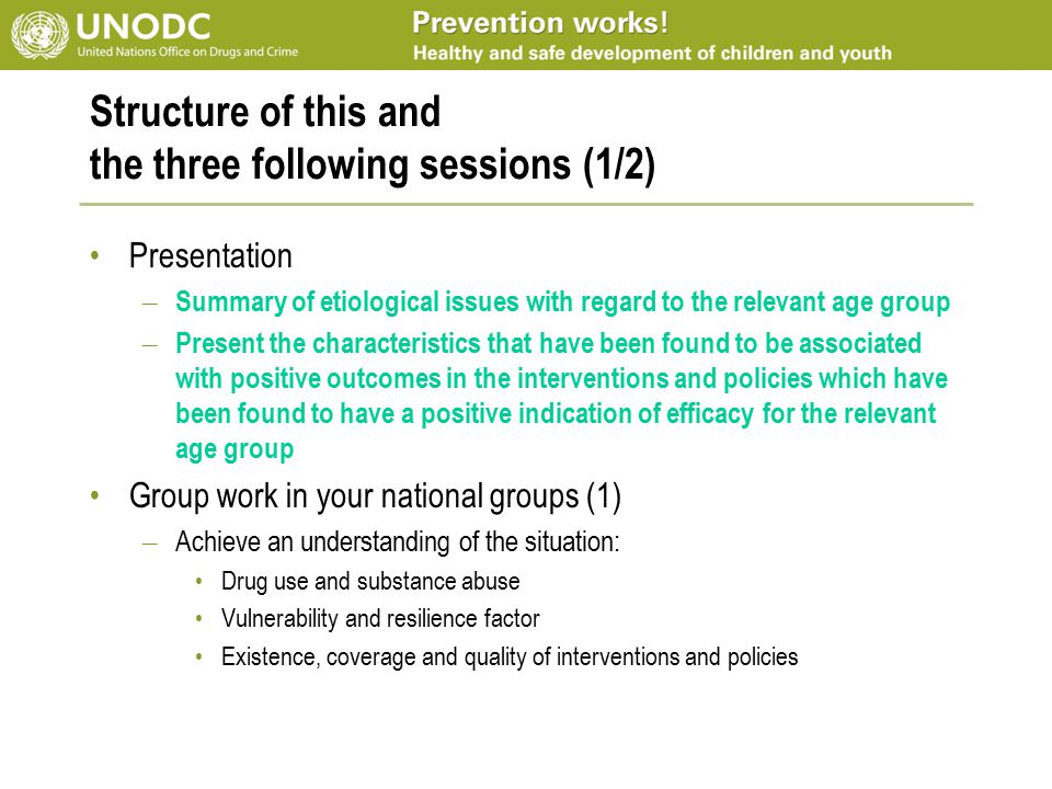 Structure of this and the three following sessions (1/2) Presentation – Summary of etiological issues with regard to the relevant age group – Present the characteristics that have been found to be associated with positive outcomes in the interventions and policies which have been found to have a positive indication of efficacy for the relevant age group Group work in your national groups (1) – Achieve an understanding of the situation: Drug use and substance abuse Vulnerability and resilience factor Existence, coverage and quality of interventions and policies
