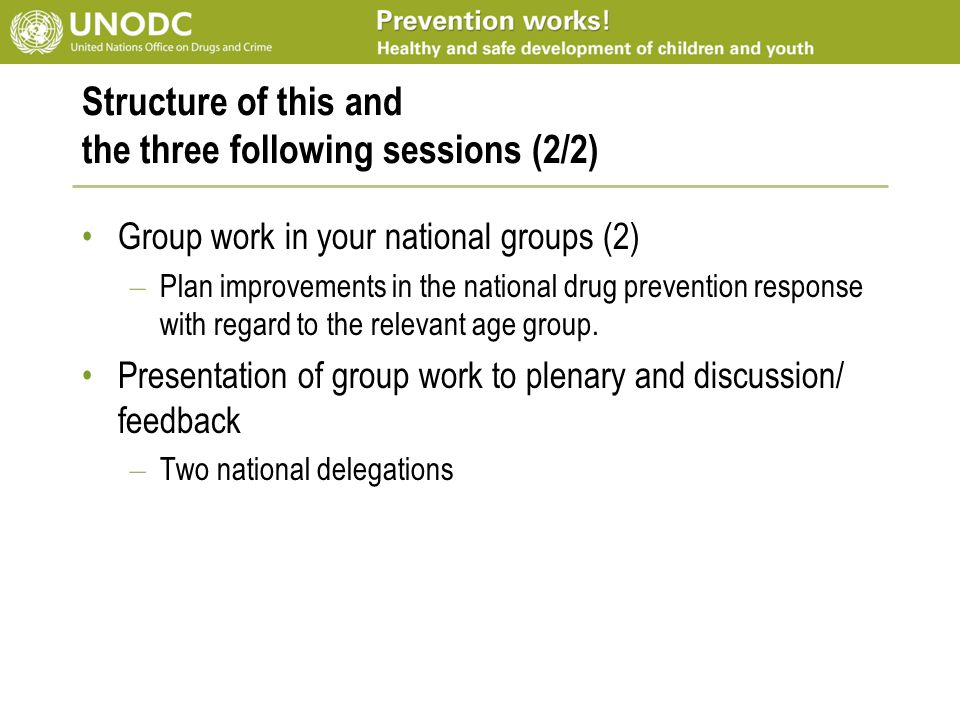 Structure of this and the three following sessions (2/2) Group work in your national groups (2) – Plan improvements in the national drug prevention re