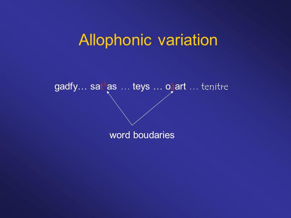 Allophonic variation gadfy… sat h as … teys … oàart … tenitre word boudaries