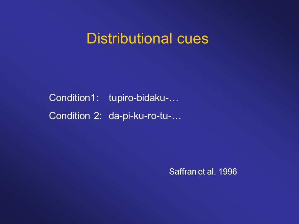 Distributional cues Condition1:tupiro-bidaku-… Condition 2:da-pi-ku-ro-tu-… Saffran et al. 1996