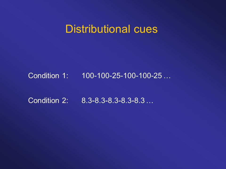 Distributional cues Condition 1: 100-100-25-100-100-25 … Condition 2: 8.3-8.3-8.3-8.3-8.3 …
