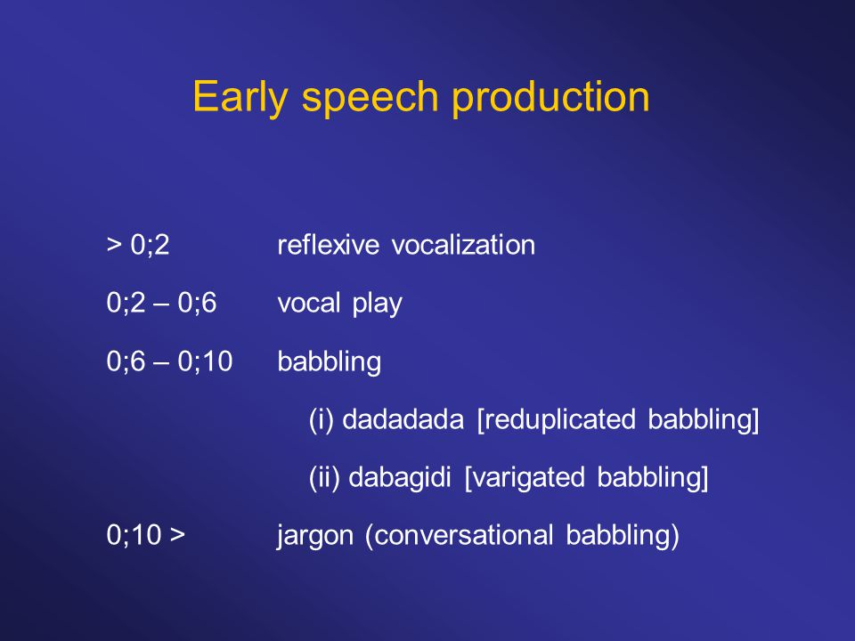 Early speech production > 0;2 reflexive vocalization 0;2 – 0;6vocal play 0;6 – 0;10babbling (i) dadadada [reduplicated babbling] (ii) dabagidi [varigated babbling] 0;10 >jargon (conversational babbling)
