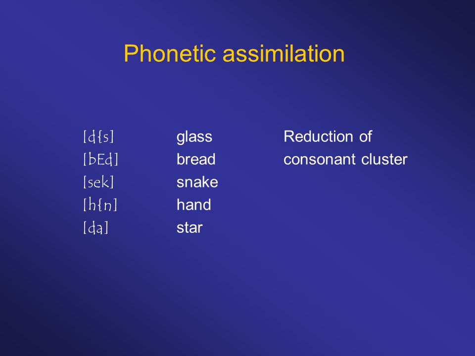 Phonetic assimilation [d{s]glass [bEd]bread [sek]snake [h{n]hand [da]star Reduction of consonant cluster