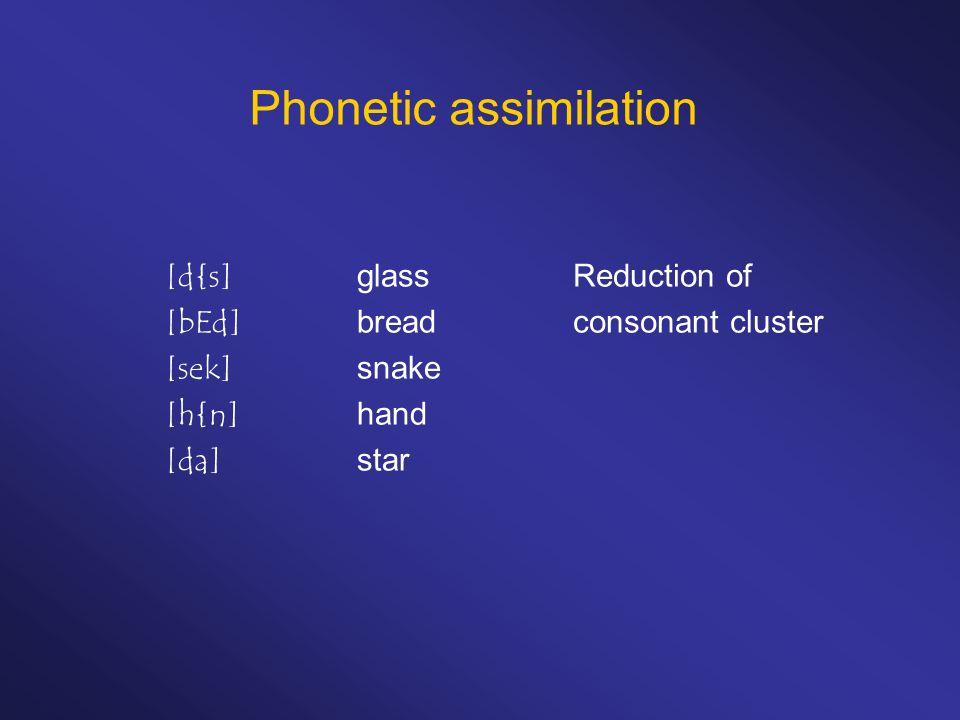 Phonetic assimilation [d{s]glass [bEd]bread [sek]snake [h{n]hand [da]star Reduction of consonant cluster