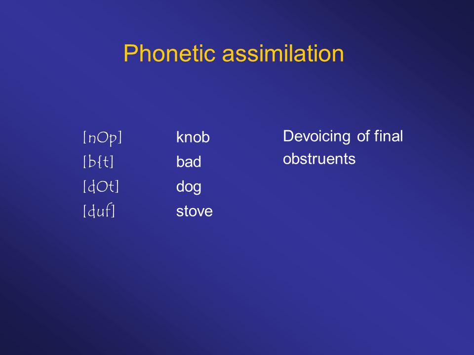 Phonetic assimilation [nOp]knob [b{t]bad [dOt]dog [duf]stove Devoicing of final obstruents