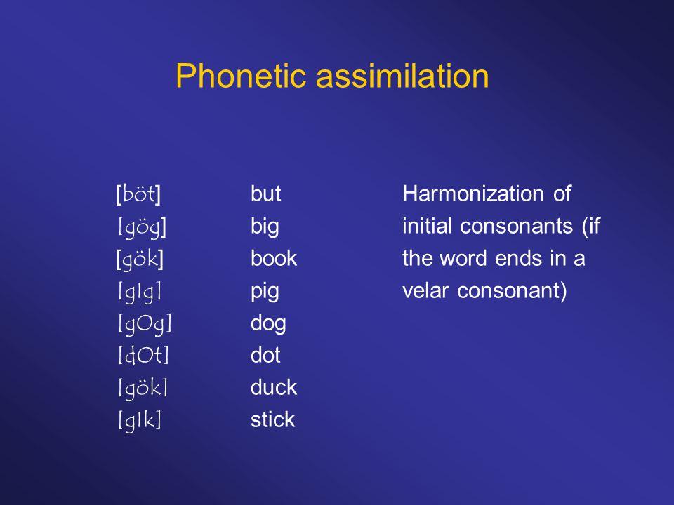 Phonetic assimilation [böt]but [gög]big [gök]book [gIg]pig [gOg]dog [dOt]dot [gök]duck [gIk]stick Harmonization of initial consonants (if the word ends in a velar consonant)