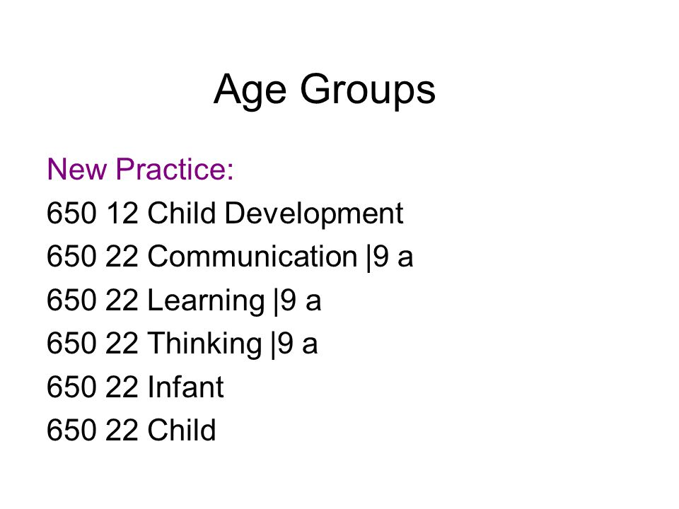 Age Groups Old Practice: 650 12 Child Development 650 22 Communication |x in infancy & childhood 650 22 Learning |x in infancy & childhood 650 22 Thinking |x in infancy & childhood