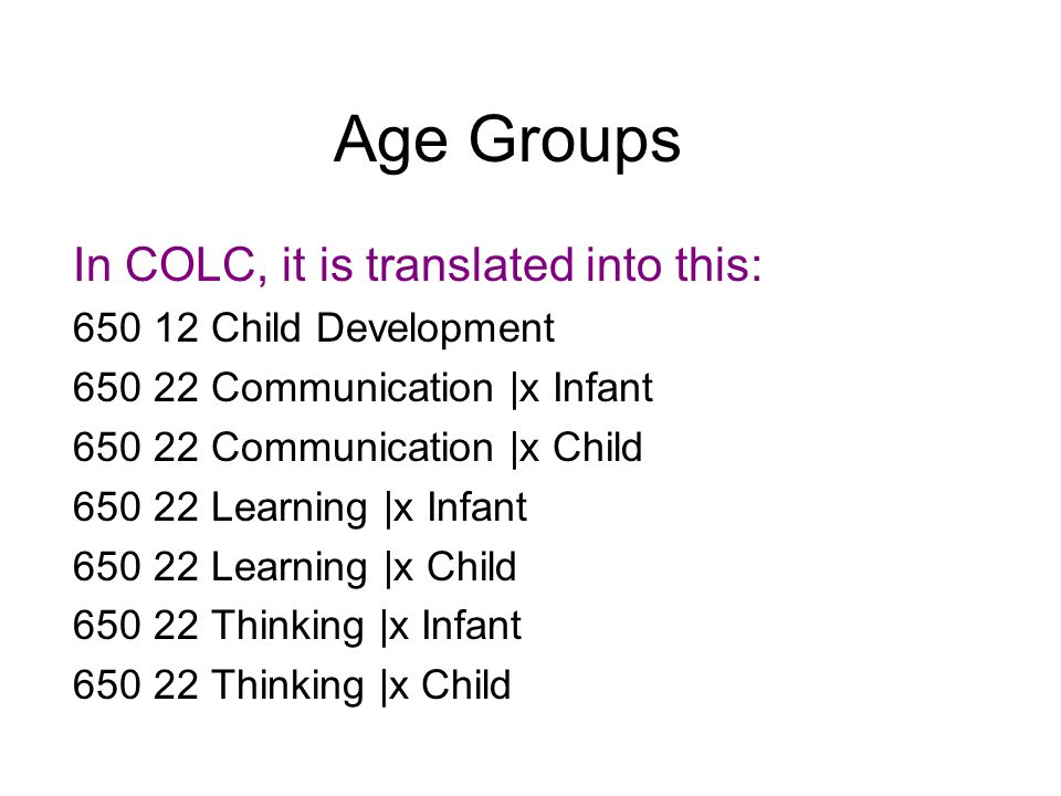 Age Groups New Practice: 650 12 Child Development 650 22 Communication |9 a 650 22 Learning |9 a 650 22 Thinking |9 a 650 22 Infant 650 22 Child