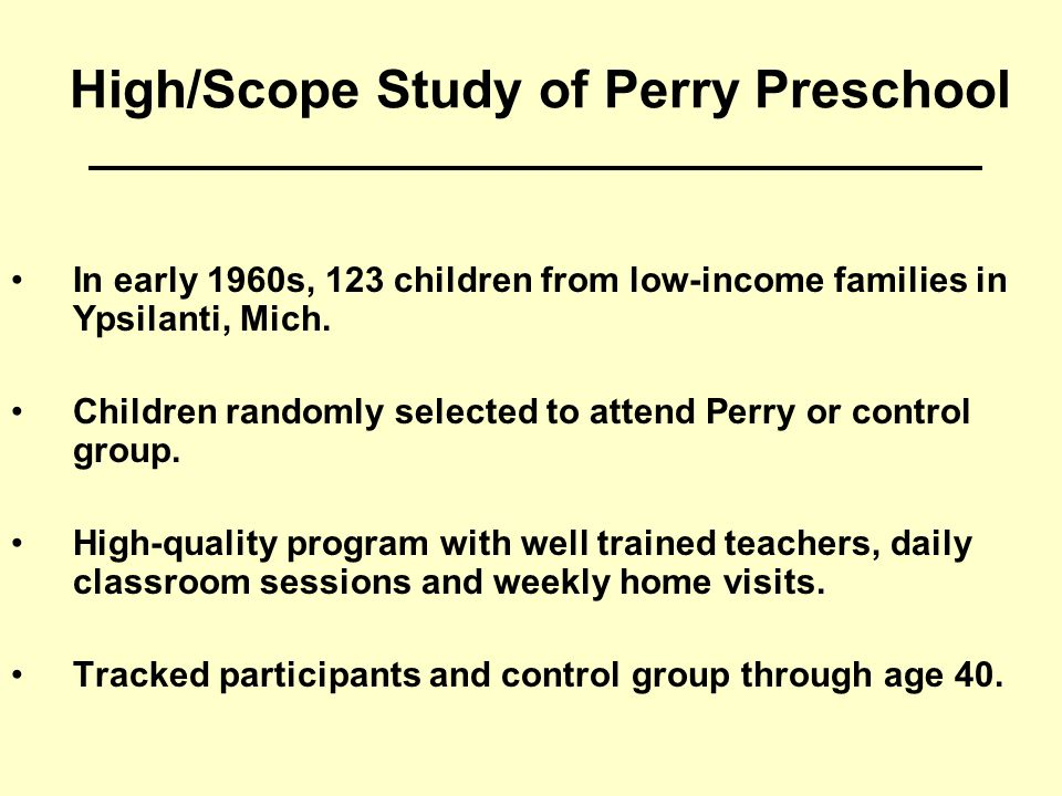 Perry: Educational Effects Source: High/Scope Educational Research Foundation