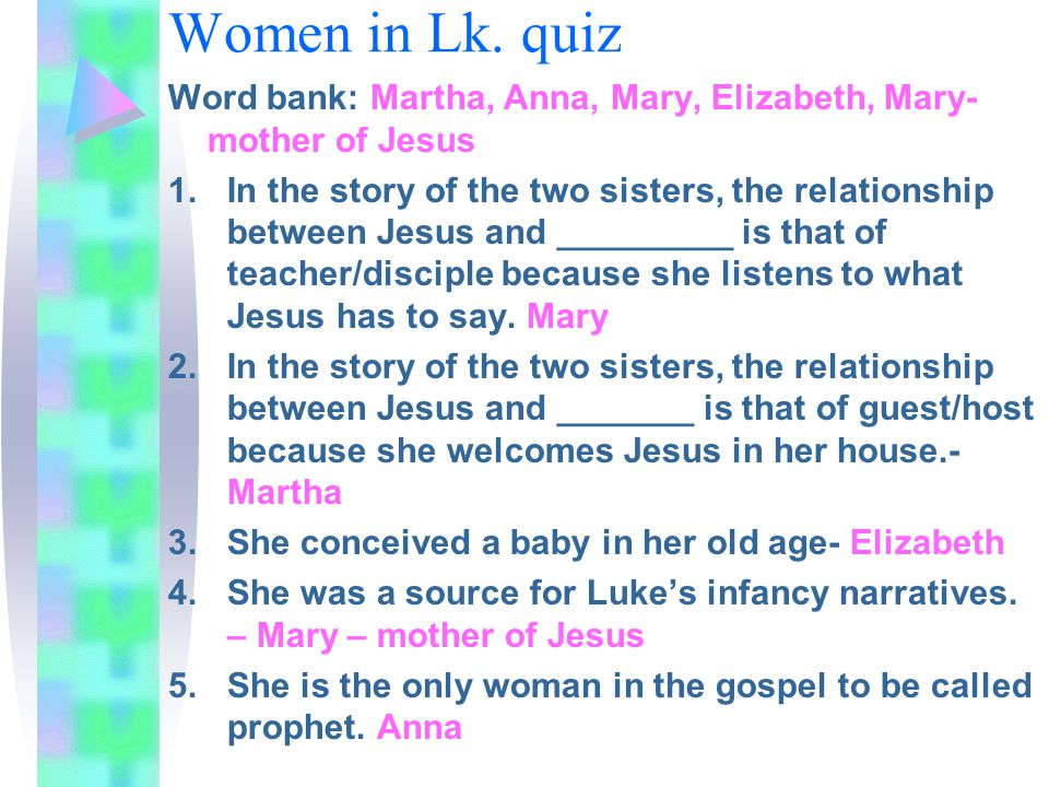 Women in Lk. quiz Word bank: Martha, Anna, Mary, Elizabeth, Mary- mother of Jesus 1.In the story of the two sisters, the relationship between Jesus an