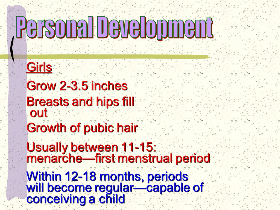 Girls Age 10—begin to grow Fat tissue develops before growth spurt.
