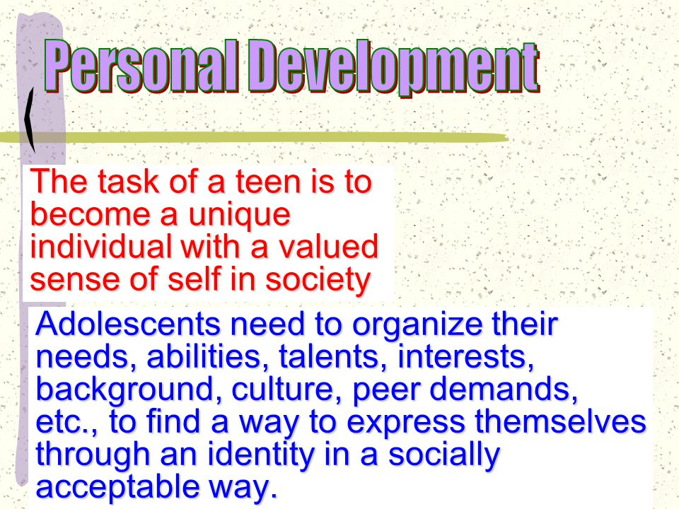 Identity Development According to Erikson, building an identity is a task that is unique to adolescence To achieve some sense of themselves, teens must go through an identity crisis: a period of inner conflict during which adolescents worry intensely about who they are