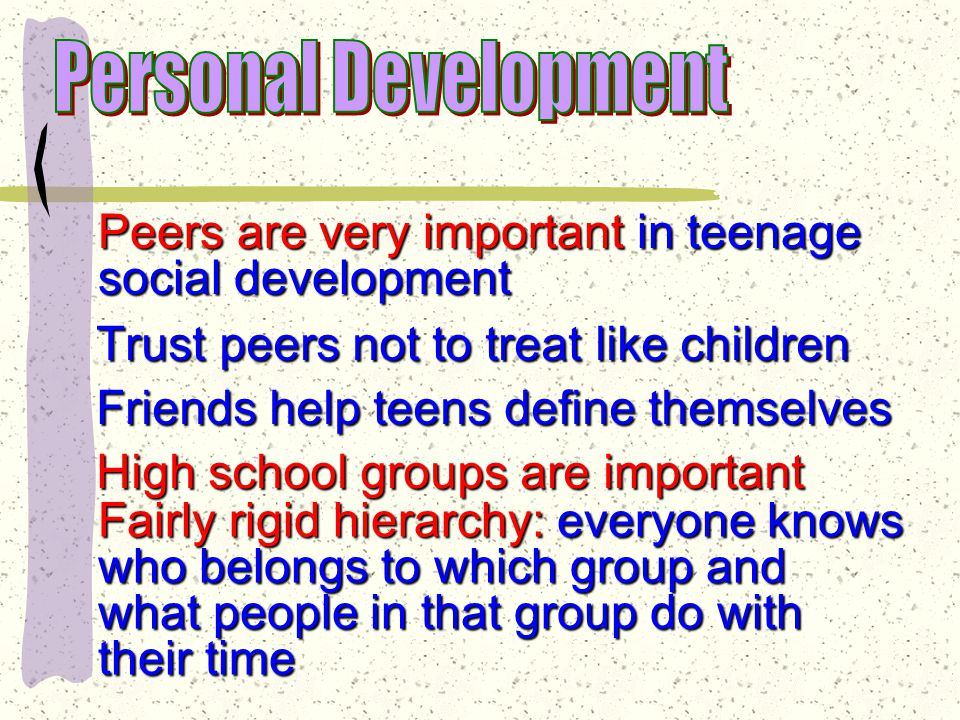 Social Development While families are very important in teenage development, one of the principal developmental tasks for teens is becoming independent of their families.