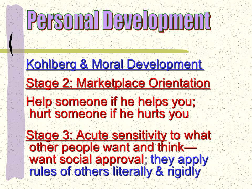 Moral Development Lawrence Kohlberg—six stages of moral development Stage 1: Egocentricity—do not consider other people's points consider other people's points of view; no sense of right & of view; no sense of right & wrong wrong Main concern: avoiding punishment