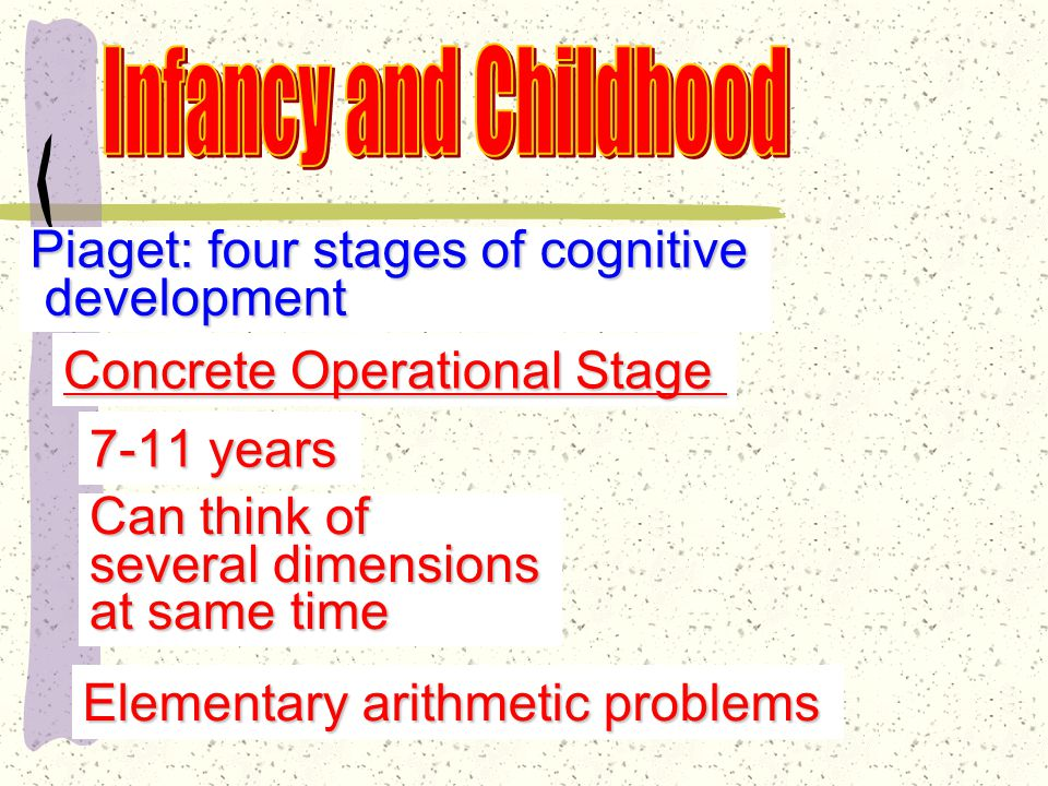 Piaget: four stages of cognitive development development Preoperational Stage Egocentrism—self-centered focus Animistic thinking Centration Irreversibility