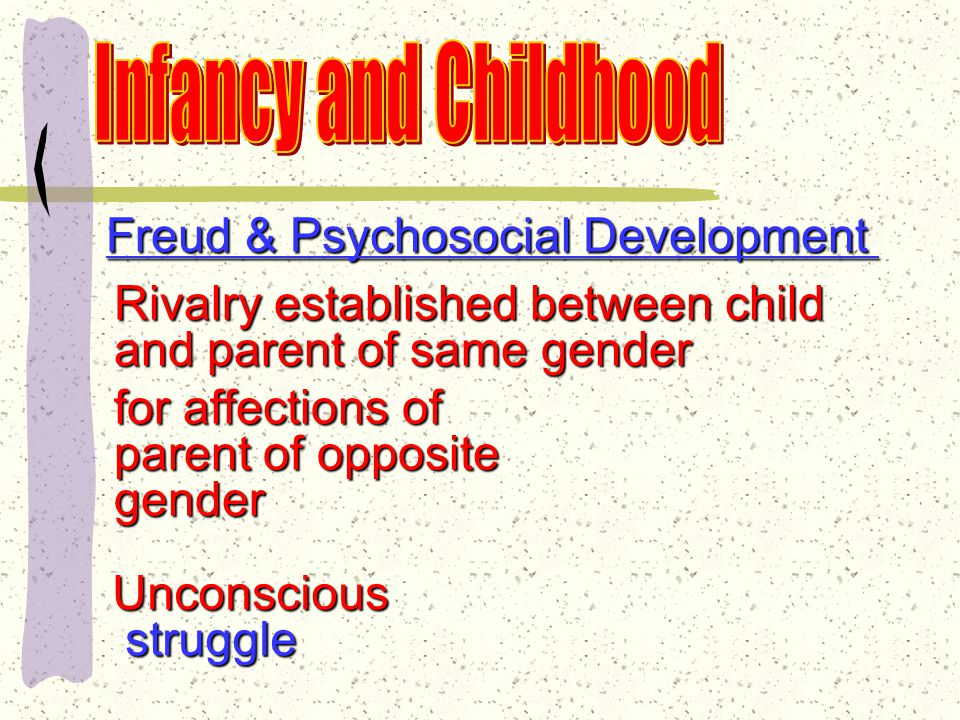 Freud & Psychosocial Development Stage 3: Phallic Stage Major conflict: ages 3-5 Child discovers he/she can obtain pleasure through genitals Child becomes aware of differences between genders