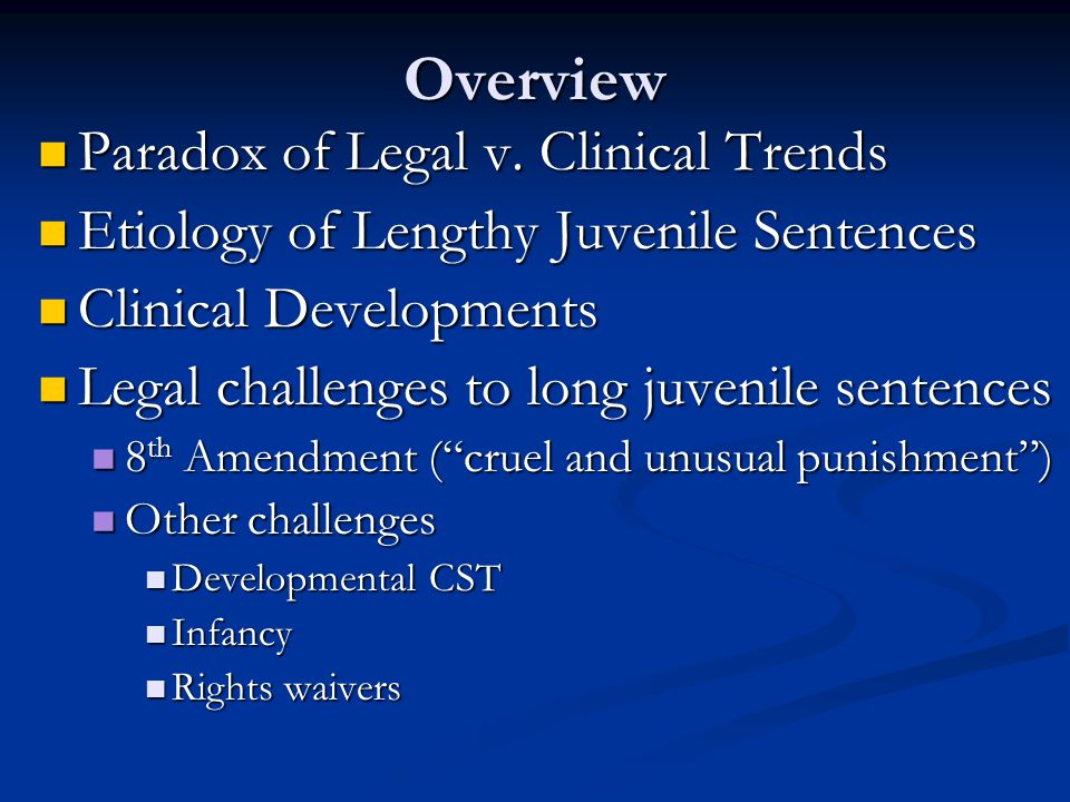 Overview Paradox of Legal v. Clinical Trends Paradox of Legal v.