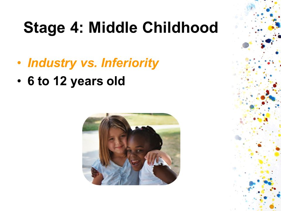 Stage 4: Middle Childhood Industry vs. Inferiority 6 to 12 years old