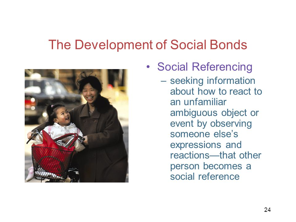 24 The Development of Social Bonds Social Referencing –seeking information about how to react to an unfamiliar ambiguous object or event by observing