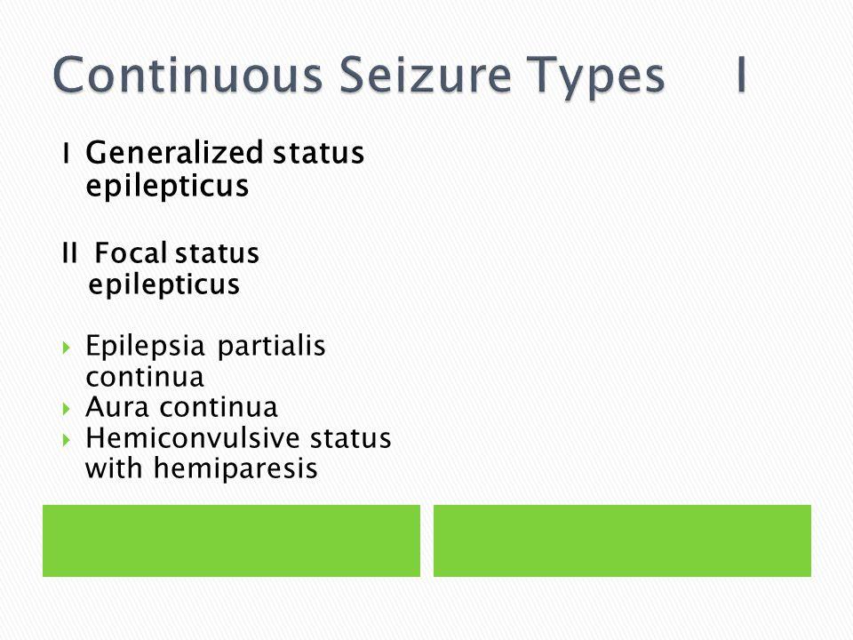 I Generalized status epilepticus II Focal status epilepticus  Epilepsia partialis continua  Aura continua  Hemiconvulsive status with hemiparesis