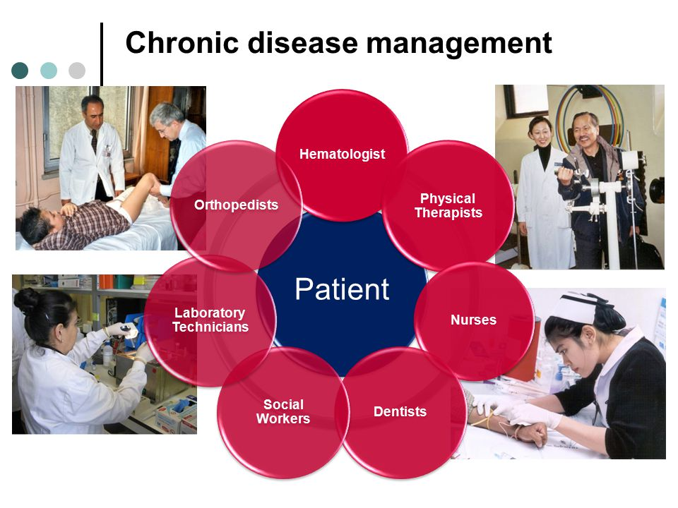 Chronic disease management Patient Hematologist Physical Therapists Nurses Dentists Social Workers Laboratory Technicians Orthopedists