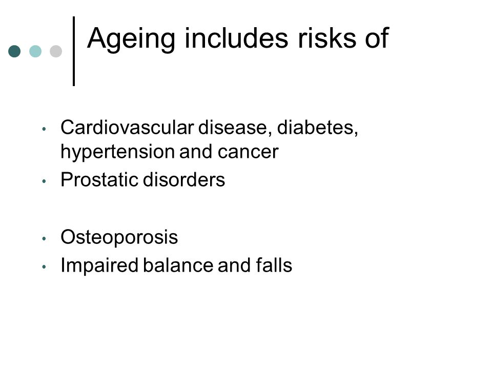 Ageing includes risks of Cardiovascular disease, diabetes, hypertension and cancer Prostatic disorders Osteoporosis Impaired balance and falls