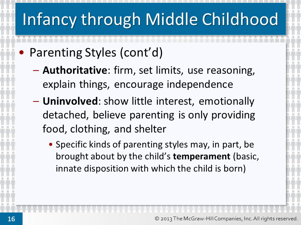 © 2013 The McGraw-Hill Companies, Inc. All rights reserved. 16 Infancy through Middle Childhood Parenting Styles (cont'd) –Authoritative: firm, set li