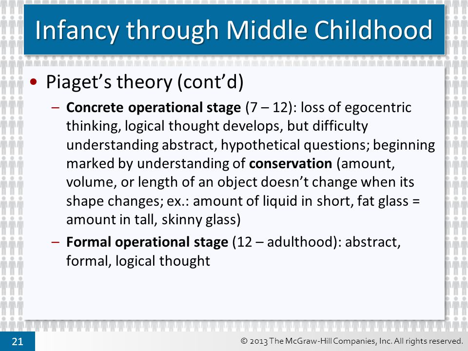 © 2013 The McGraw-Hill Companies, Inc. All rights reserved. 21 Infancy through Middle Childhood Piaget's theory (cont'd) –Concrete operational stage (