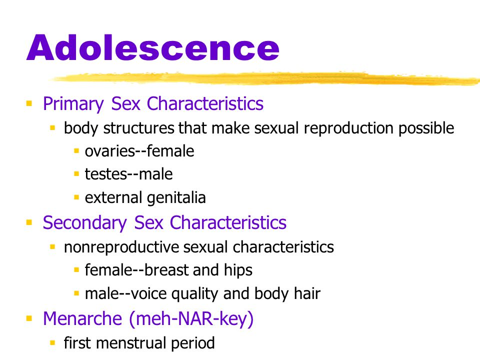 Adolescence  Primary Sex Characteristics  body structures that make sexual reproduction possible  ovaries--female  testes--male  external genital