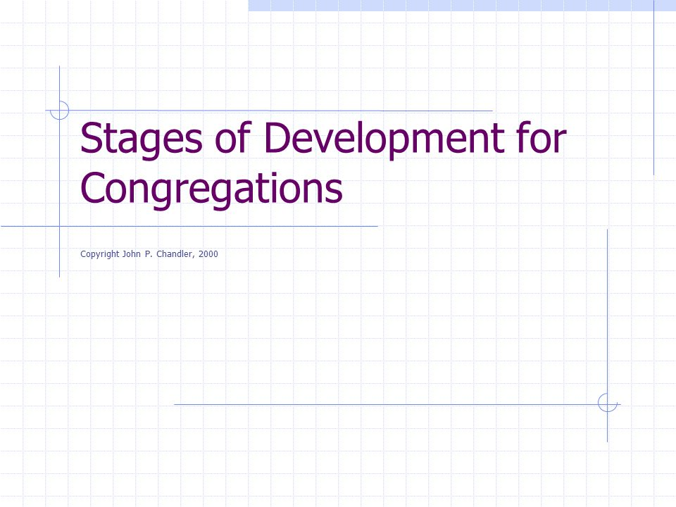Stages of Development for Congregations Copyright John P. Chandler, 2000