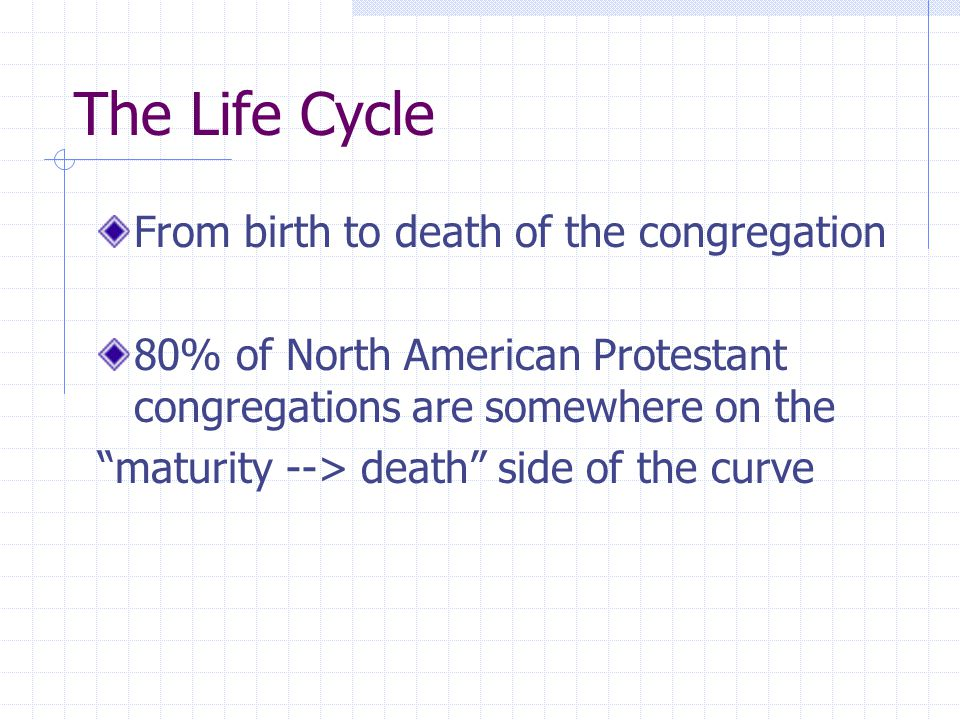 The Life Cycle From birth to death of the congregation 80% of North American Protestant congregations are somewhere on the maturity --> death side of the curve