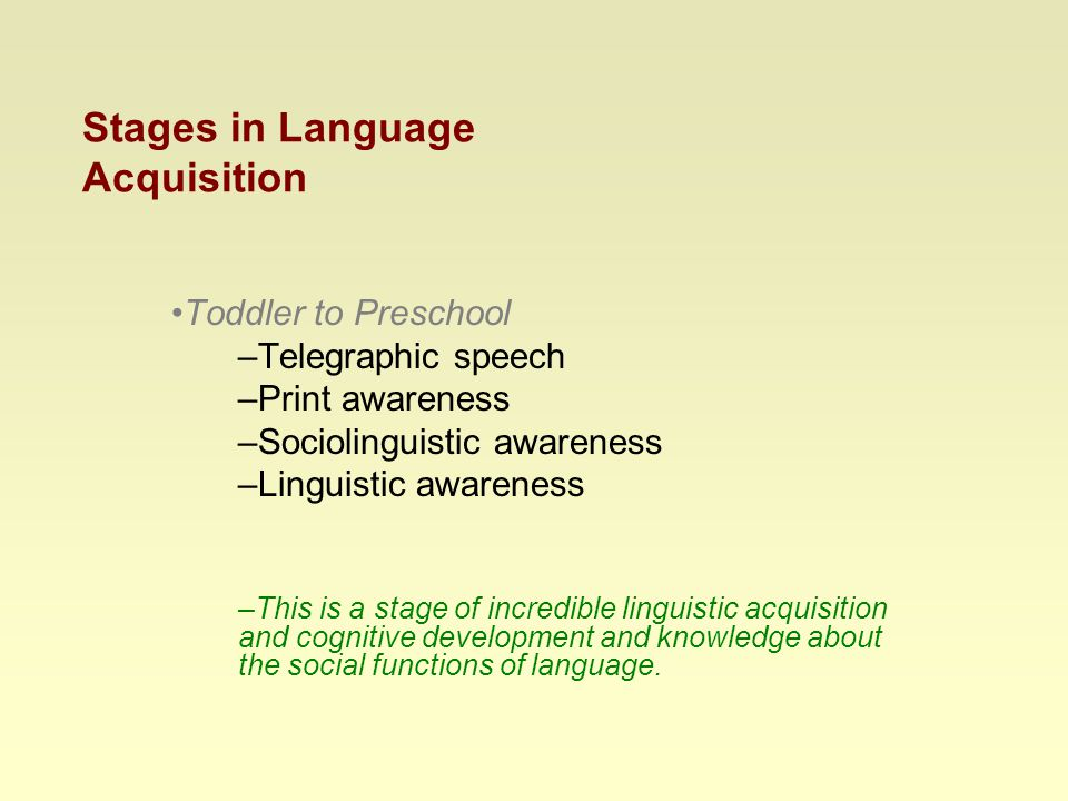 Stages in Language Acquisition Toddler to Preschool –Telegraphic speech –Print awareness –Sociolinguistic awareness –Linguistic awareness –This is a stage of incredible linguistic acquisition and cognitive development and knowledge about the social functions of language.