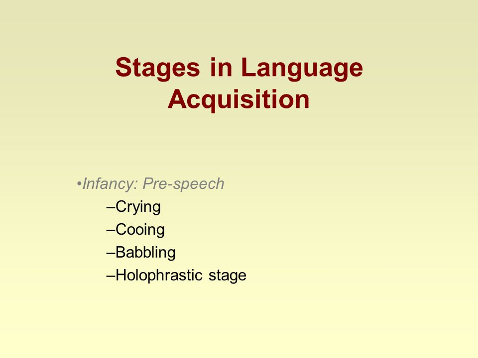 Stages in Language Acquisition Infancy: Pre-speech –Crying –Cooing –Babbling –Holophrastic stage