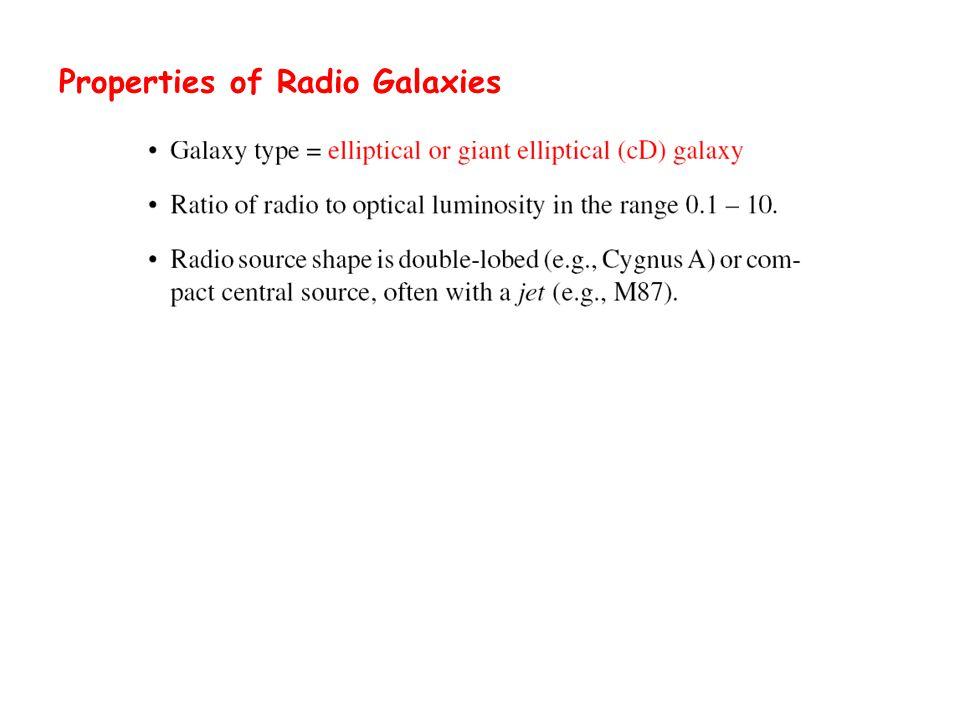 Properties of Radio Galaxies