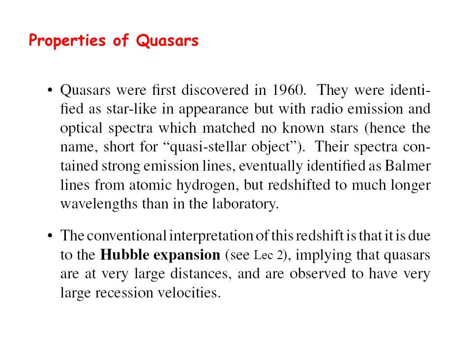 Properties of Quasars Lec 2