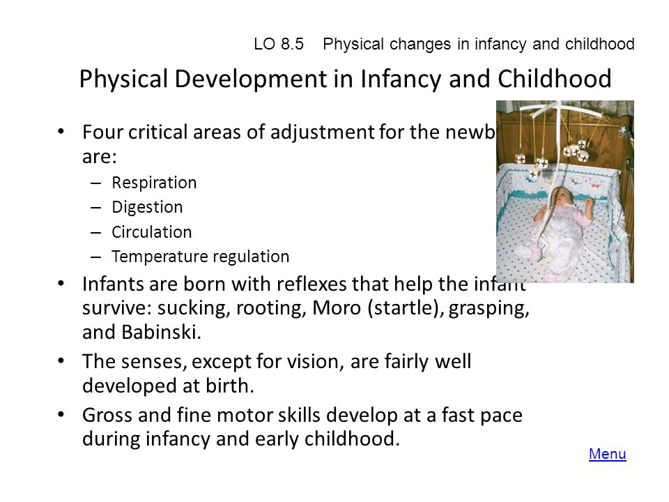 Physical Development in Infancy and Childhood Four critical areas of adjustment for the newborn are: – Respiration – Digestion – Circulation – Tempera