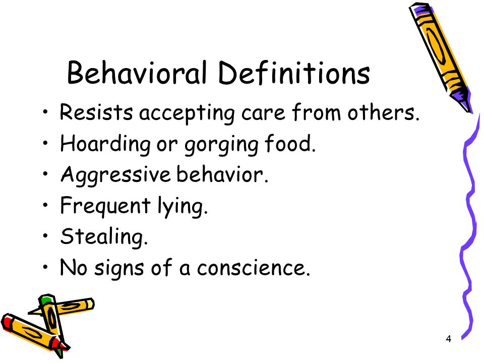 4 Behavioral Definitions Resists accepting care from others.