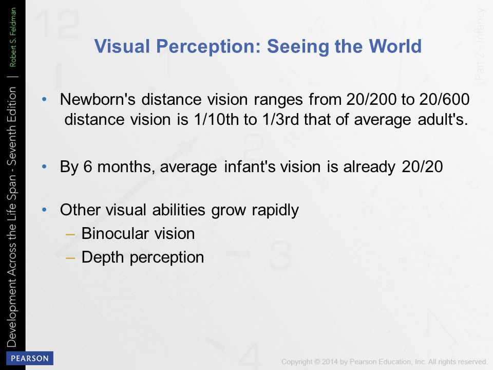 Visual Perception: Seeing the World Newborn s distance vision ranges from 20/200 to 20/600 distance vision is 1/10th to 1/3rd that of average adult s.