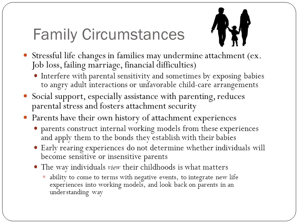 Family Circumstances Stressful life changes in families may undermine attachment (ex. Job loss, failing marriage, financial difficulties) Interfere wi