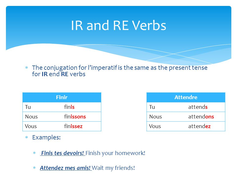  The conjugation for l'imperatif is the same as the present tense for IR end RE verbs  Examples:  Finis tes devoirs! Finish your homework!  Attend