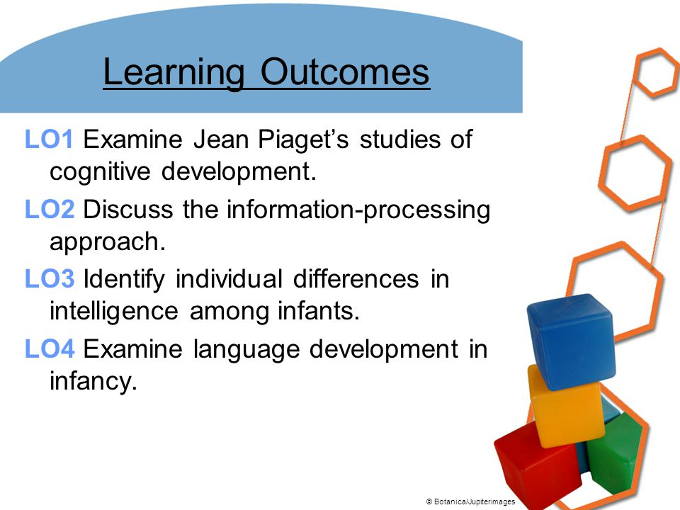 Learning Outcomes LO1 Examine Jean Piaget's studies of cognitive development. LO2 Discuss the information-processing approach. LO3 Identify individual