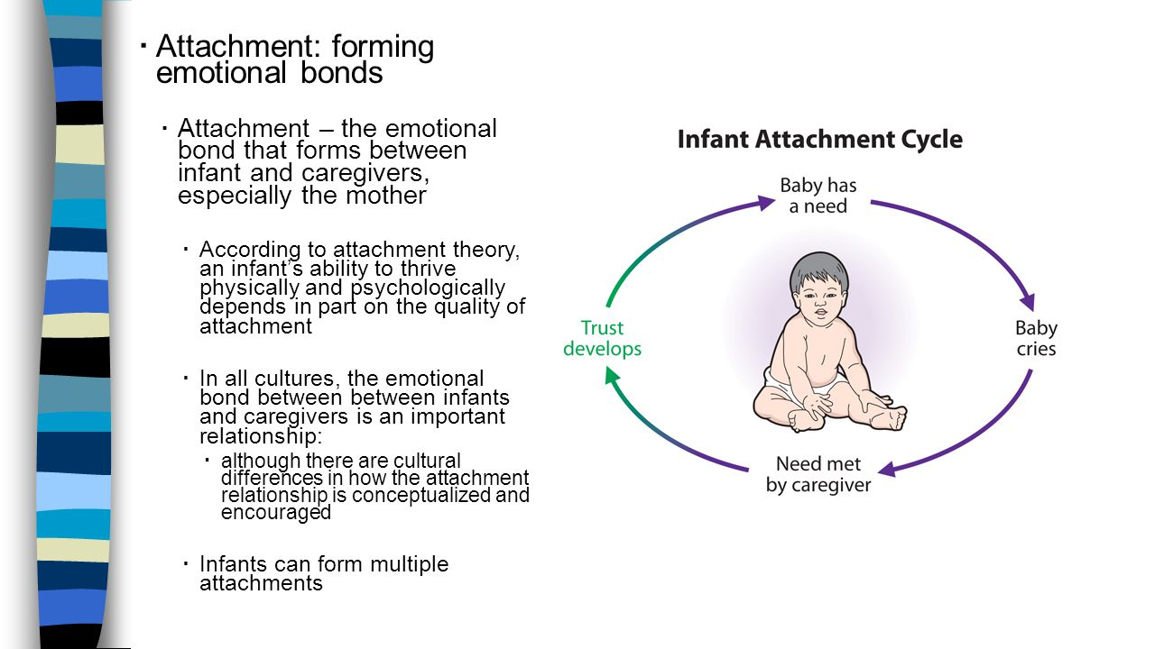 DEVELOPMENT DURING INFANCY AND CHILDHOOD  Attachment: forming emotional bonds  Attachment – the emotional bond that forms between infant and caregiv
