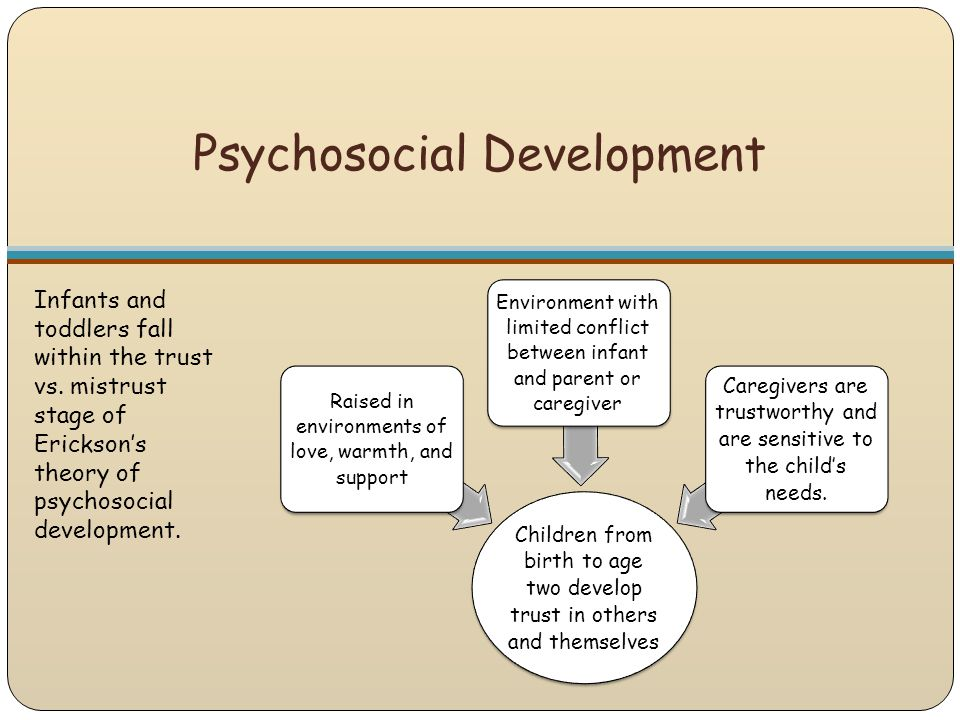 Psychosocial Development Infants and toddlers fall within the trust vs. mistrust stage of Erickson's theory of psychosocial development. Children from