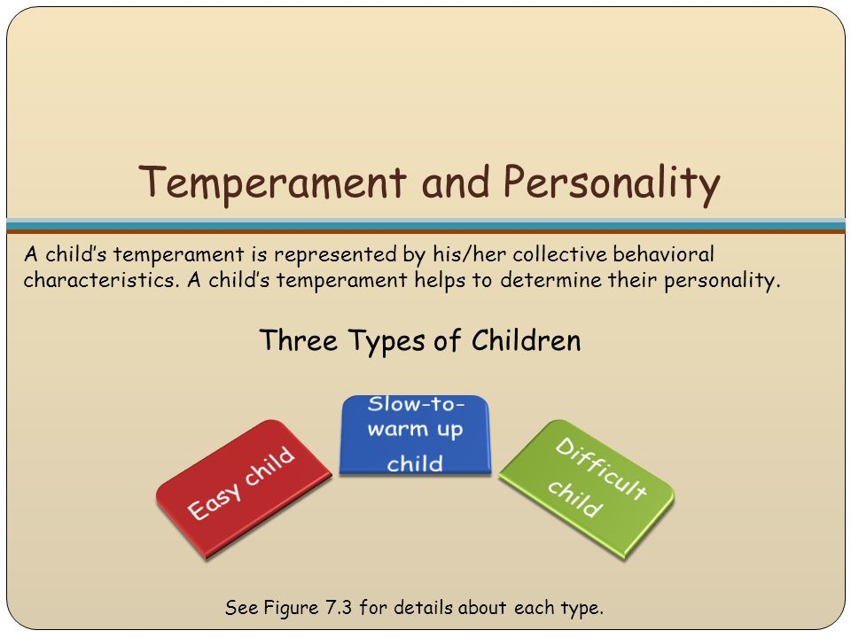 Temperament and Personality A child's temperament is represented by his/her collective behavioral characteristics. A child's temperament helps to dete