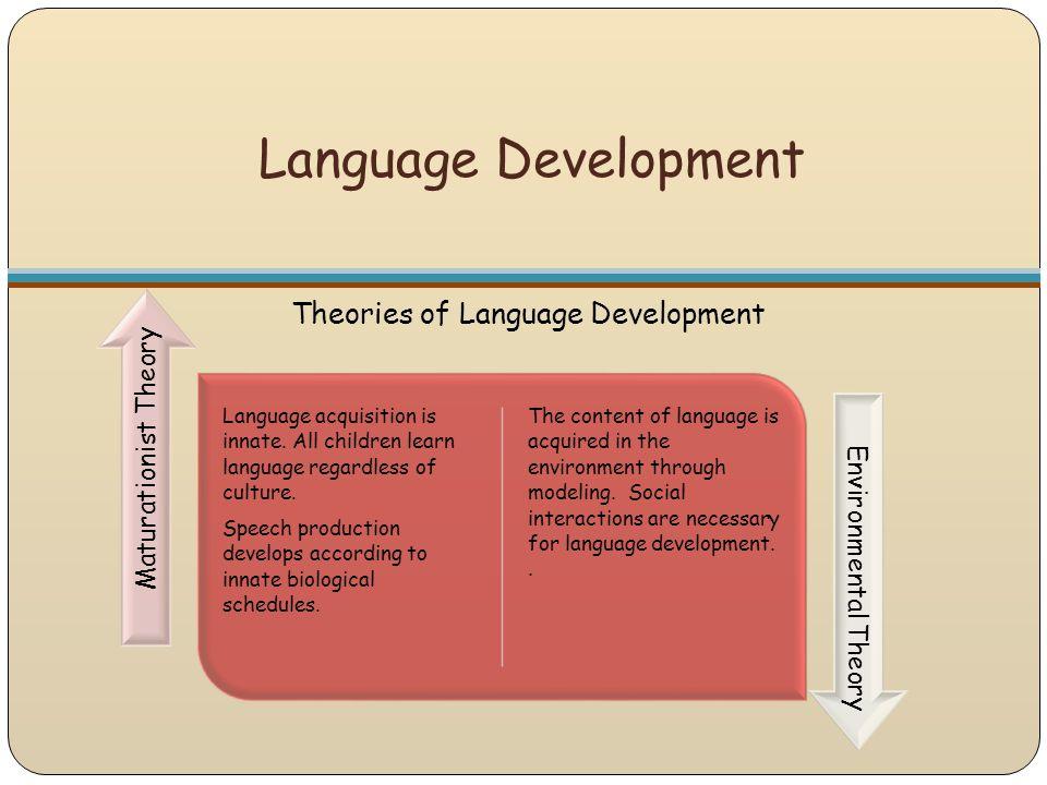 Language Development Theories of Language Development Language acquisition is innate. All children learn language regardless of culture. Speech produc