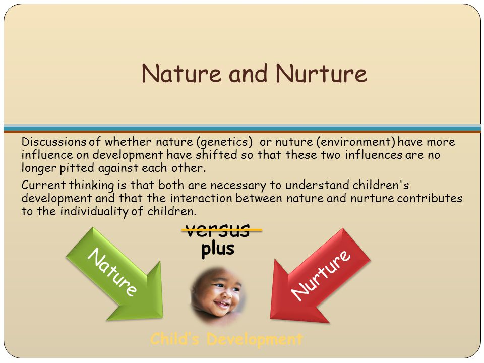 Nature and Nurture Discussions of whether nature (genetics) or nuture (environment) have more influence on development have shifted so that these two