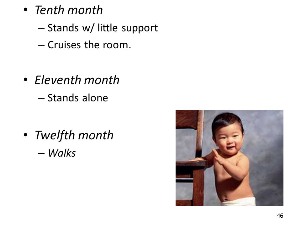 46 Tenth month – Stands w/ little support – Cruises the room. Eleventh month – Stands alone Twelfth month – Walks