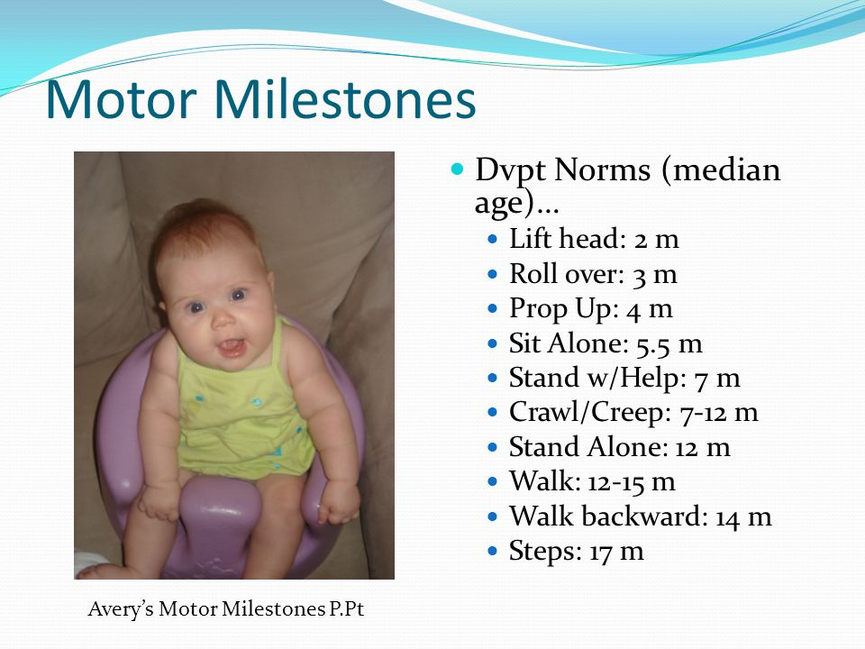 Motor Milestones Dvpt Norms (median age)… Lift head: 2 m Roll over: 3 m Prop Up: 4 m Sit Alone: 5.5 m Stand w/Help: 7 m Crawl/Creep: 7-12 m Stand Alon